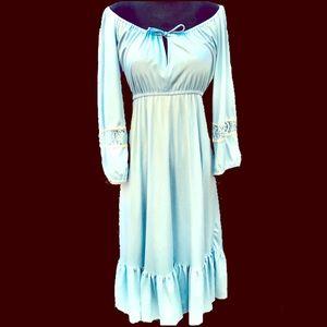 Baby Blue vintage 1970s prairie boho peasant dress